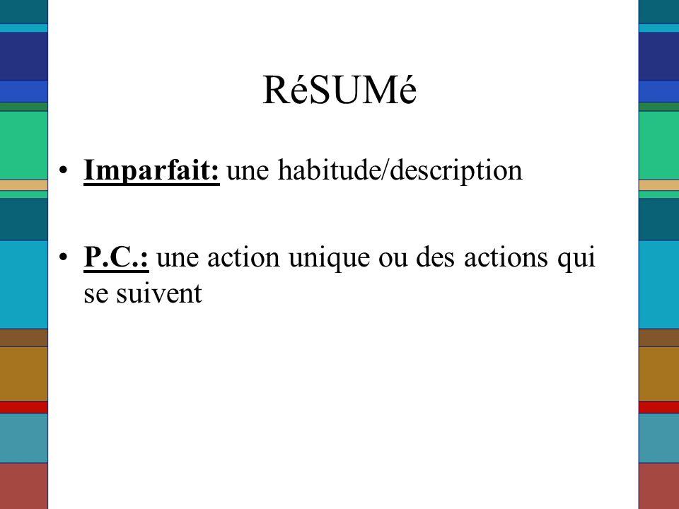 RéSUMé Imparfait: une habitude/description P.C.: une action unique ou des actions qui se suivent