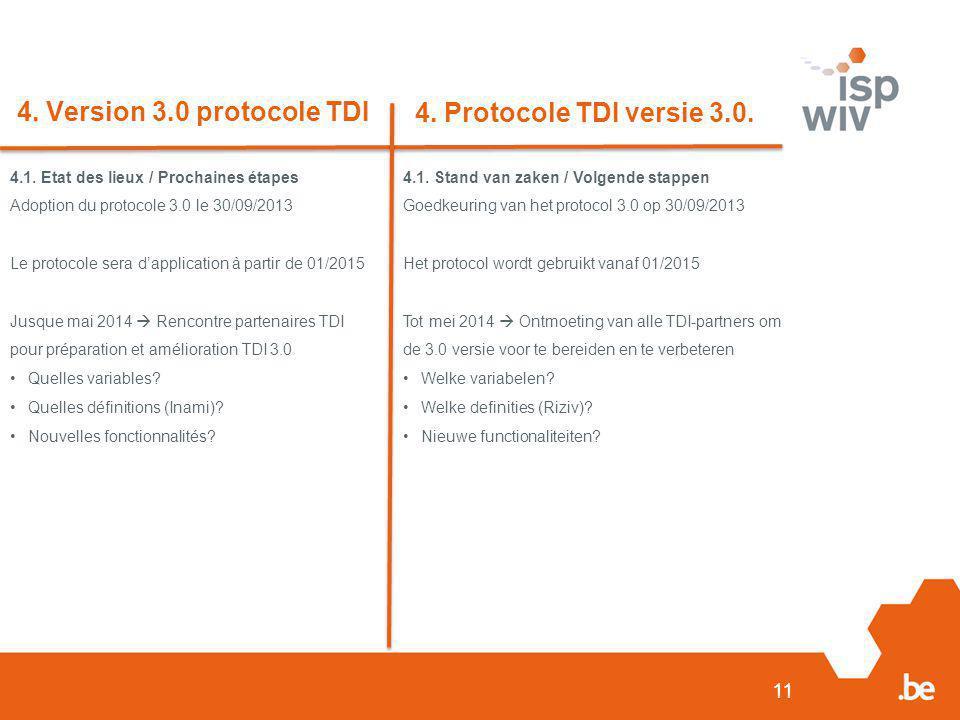 11 4. Version 3.0 protocole TDI 4. Protocole TDI versie 3.0. 4.1. Etat des lieux / Prochaines étapes Adoption du protocole 3.0 le 30/09/2013 Le protoc