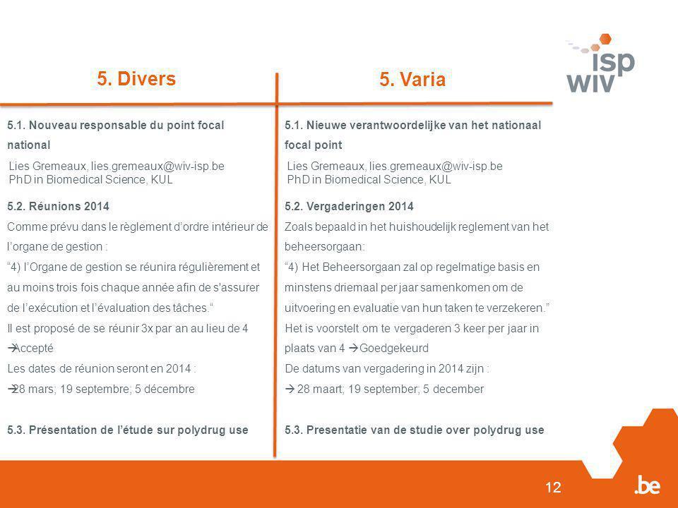 12 5. Divers 5. Varia 5.1. Nouveau responsable du point focal national 5.2. Réunions 2014 Comme prévu dans le règlement d'ordre intérieur de l'organe