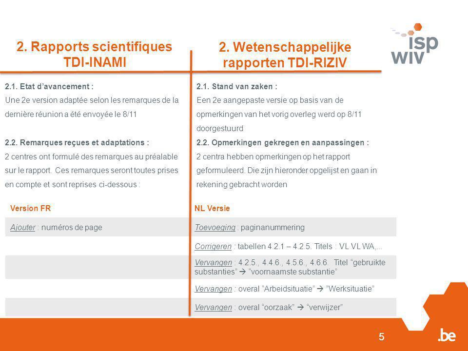 5 2. Rapports scientifiques TDI-INAMI 2. Wetenschappelijke rapporten TDI-RIZIV 2.1. Etat d'avancement : Une 2e version adaptée selon les remarques de