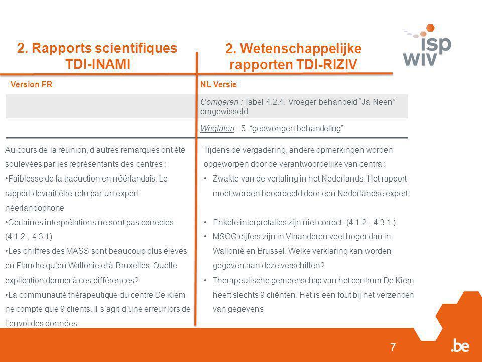 """7 2. Rapports scientifiques TDI-INAMI 2. Wetenschappelijke rapporten TDI-RIZIV Version FRNL Versie Corrigeren : Tabel 4.2.4. Vroeger behandeld """"Ja-Nee"""