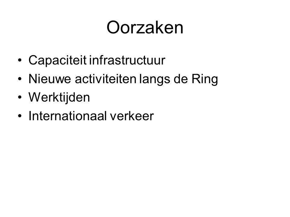 Oorzaken Capaciteit infrastructuur Nieuwe activiteiten langs de Ring Werktijden Internationaal verkeer