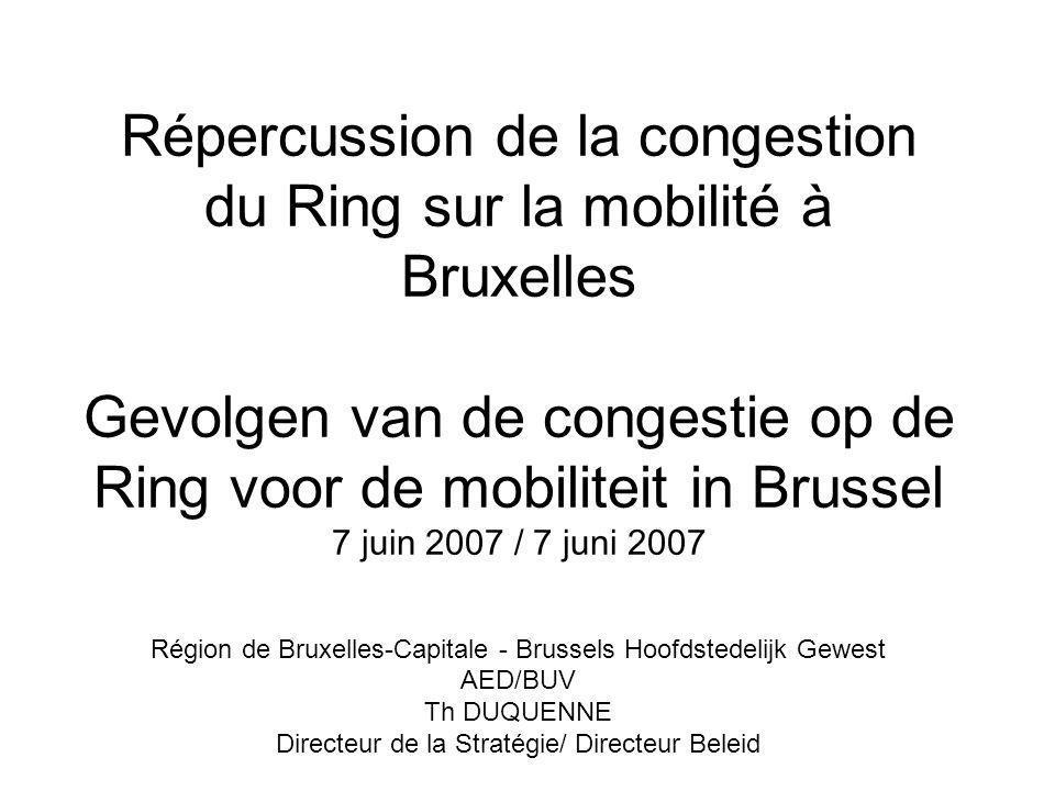 Répercussion de la congestion du Ring sur la mobilité à Bruxelles Gevolgen van de congestie op de Ring voor de mobiliteit in Brussel 7 juin 2007 / 7 j