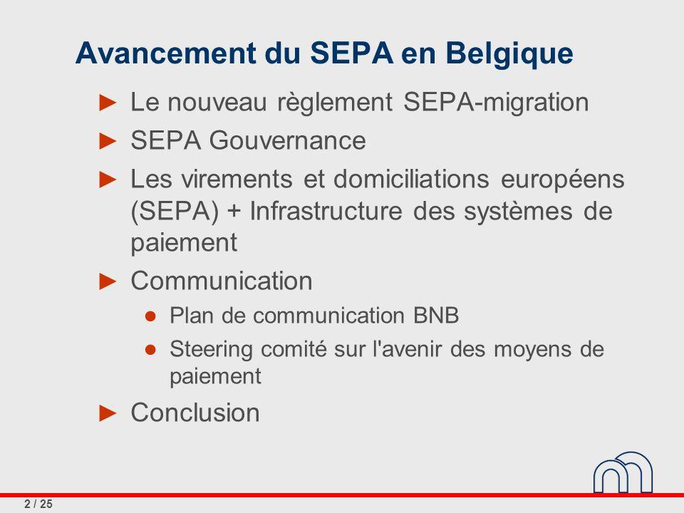 2 / 25 Avancement du SEPA en Belgique ► Le nouveau règlement SEPA-migration ► SEPA Gouvernance ► Les virements et domiciliations européens (SEPA) + In