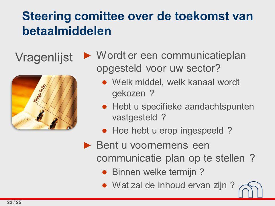 22 / 25 Steering comittee over de toekomst van betaalmiddelen ► Wordt er een communicatieplan opgesteld voor uw sector? ● Welk middel, welk kanaal wor