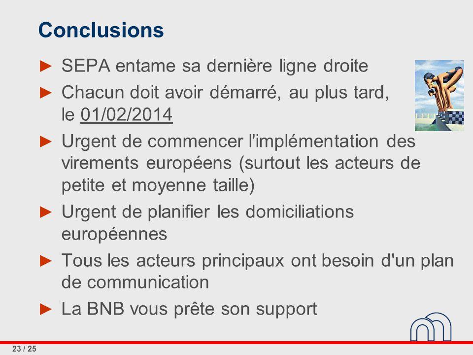 23 / 25 Conclusions ► SEPA entame sa dernière ligne droite ► Chacun doit avoir démarré, au plus tard, le 01/02/2014 ► Urgent de commencer l'implémenta