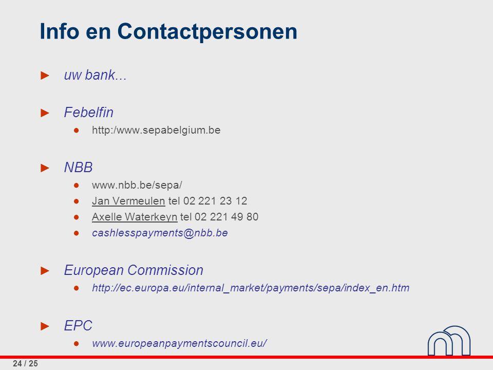 24 / 25 Info en Contactpersonen ► uw bank... ► Febelfin ● http:/www.sepabelgium.be ► NBB ● www.nbb.be/sepa/ ● Jan Vermeulen tel 02 221 23 12 ● Axelle