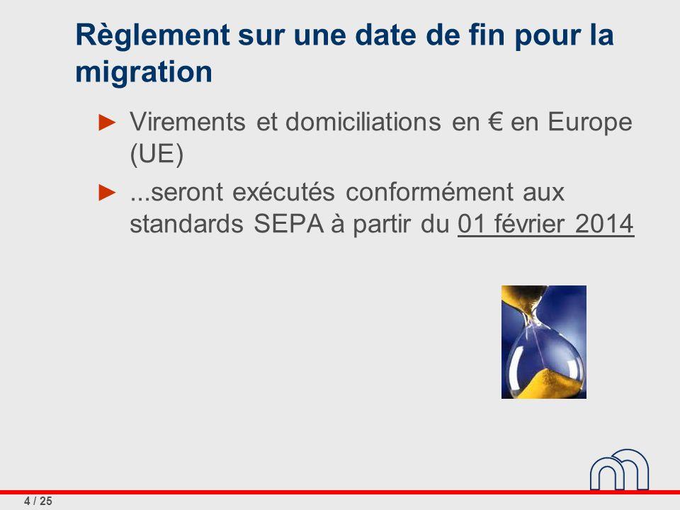 4 / 25 Règlement sur une date de fin pour la migration ► Virements et domiciliations en € en Europe (UE) ►...seront exécutés conformément aux standards SEPA à partir du 01 février 2014