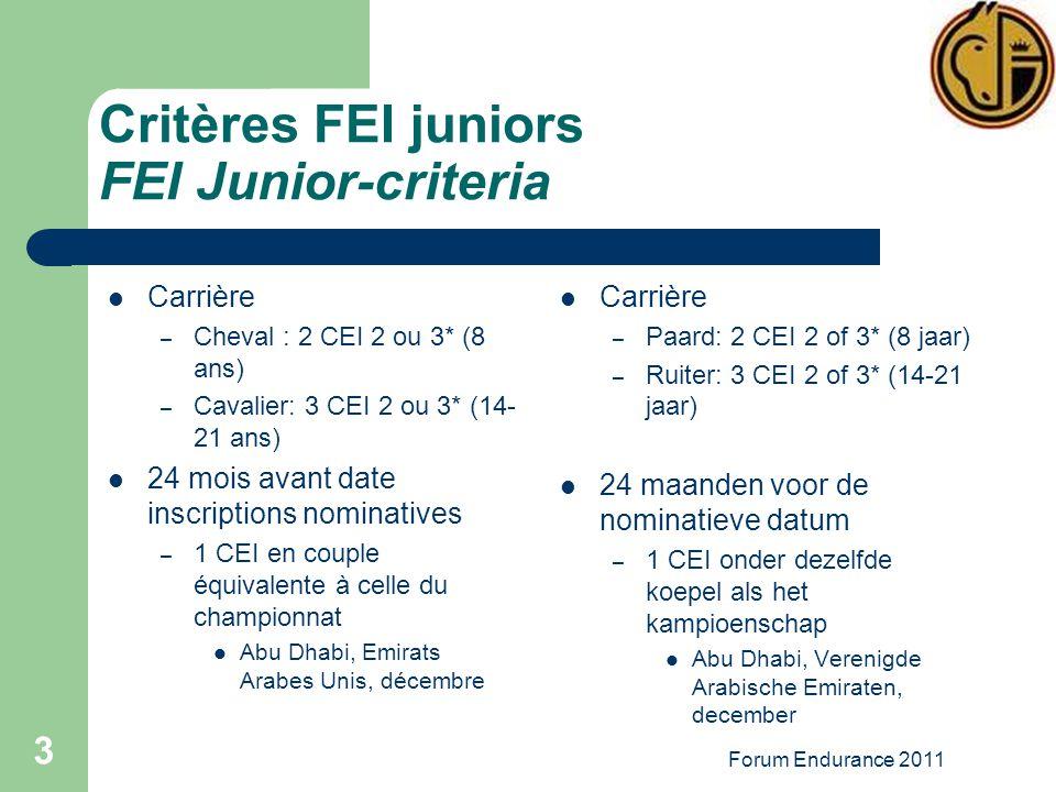Forum Endurance 2011 3 Critères FEI juniors FEI Junior-criteria Carrière – Cheval : 2 CEI 2 ou 3* (8 ans) – Cavalier: 3 CEI 2 ou 3* (14- 21 ans) 24 mois avant date inscriptions nominatives – 1 CEI en couple équivalente à celle du championnat Abu Dhabi, Emirats Arabes Unis, décembre Carrière – Paard: 2 CEI 2 of 3* (8 jaar) – Ruiter: 3 CEI 2 of 3* (14-21 jaar) 24 maanden voor de nominatieve datum – 1 CEI onder dezelfde koepel als het kampioenschap Abu Dhabi, Verenigde Arabische Emiraten, december