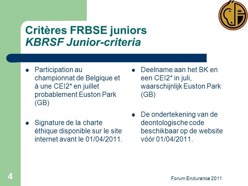 Forum Endurance 2011 4 Critères FRBSE juniors KBRSF Junior-criteria Participation au championnat de Belgique et à une CEI2* en juillet probablement Euston Park (GB) Signature de la charte éthique disponible sur le site internet avant le 01/04/2011.