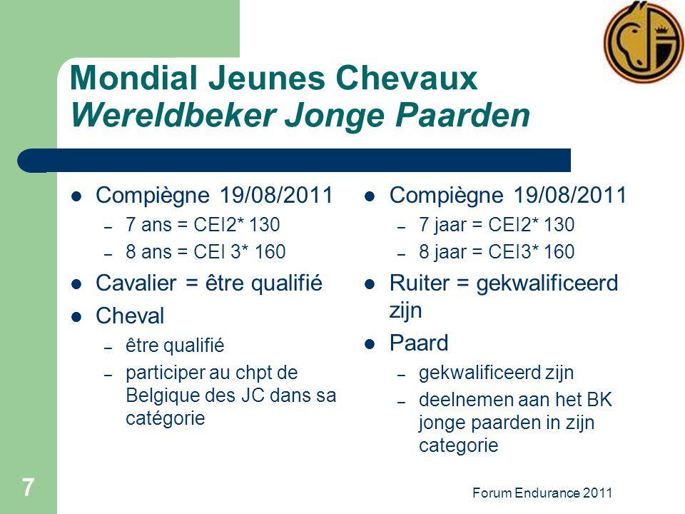 Forum Endurance 2011 7 Mondial Jeunes Chevaux Wereldbeker Jonge Paarden Compiègne 19/08/2011 – 7 ans = CEI2* 130 – 8 ans = CEI 3* 160 Cavalier = être qualifié Cheval – être qualifié – participer au chpt de Belgique des JC dans sa catégorie Compiègne 19/08/2011 – 7 jaar = CEI2* 130 – 8 jaar = CEI3* 160 Ruiter = gekwalificeerd zijn Paard – gekwalificeerd zijn – deelnemen aan het BK jonge paarden in zijn categorie