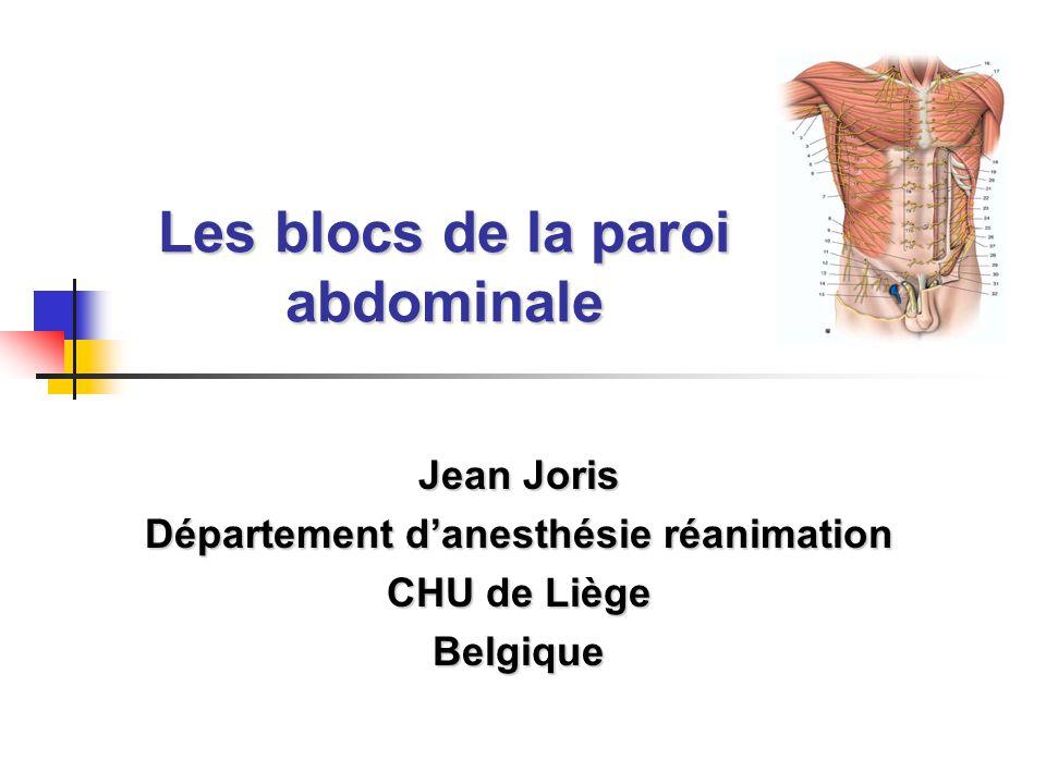 Les blocs de la paroi abdominale Jean Joris Département d'anesthésie réanimation CHU de Liège Belgique