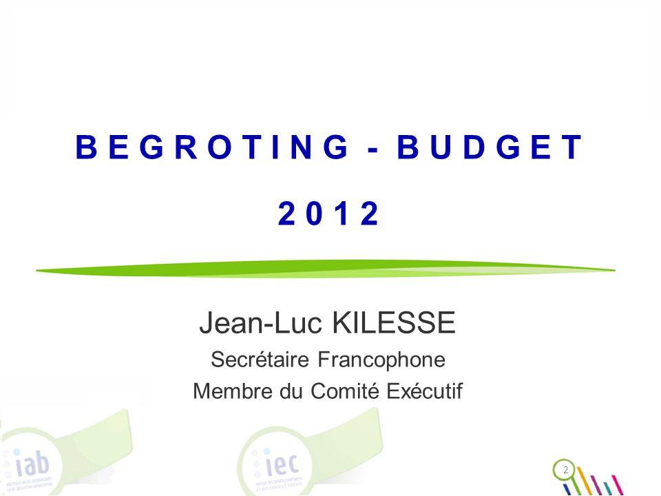 B E G R O T I N G - B U D G E T 2 0 1 2 Jean-Luc KILESSE Secrétaire Francophone Membre du Comité Exécutif 2