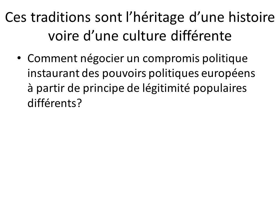 Ces traditions sont l'héritage d'une histoire voire d'une culture différente Comment négocier un compromis politique instaurant des pouvoirs politique