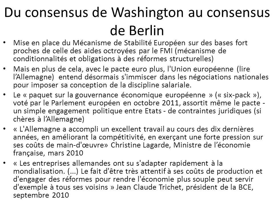 Du consensus de Washington au consensus de Berlin Mise en place du Mécanisme de Stabilité Européen sur des bases fort proches de celle des aides octro