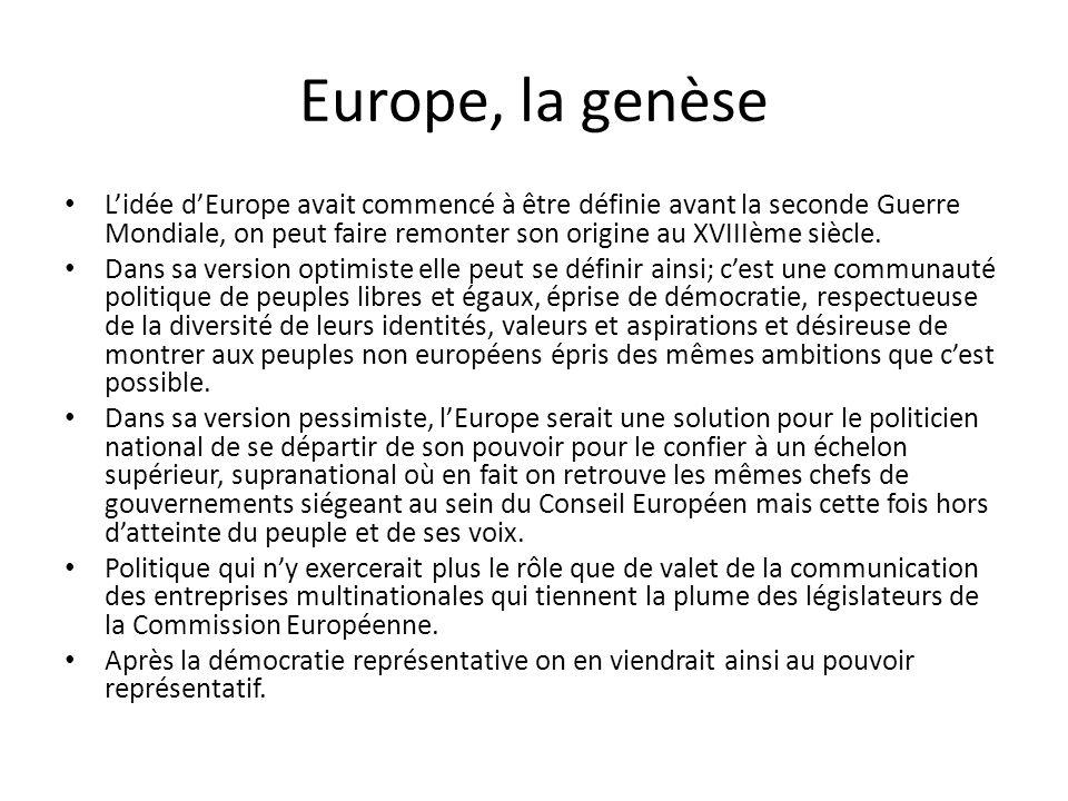 Europe, la genèse L'idée d'Europe avait commencé à être définie avant la seconde Guerre Mondiale, on peut faire remonter son origine au XVIIIème siècl