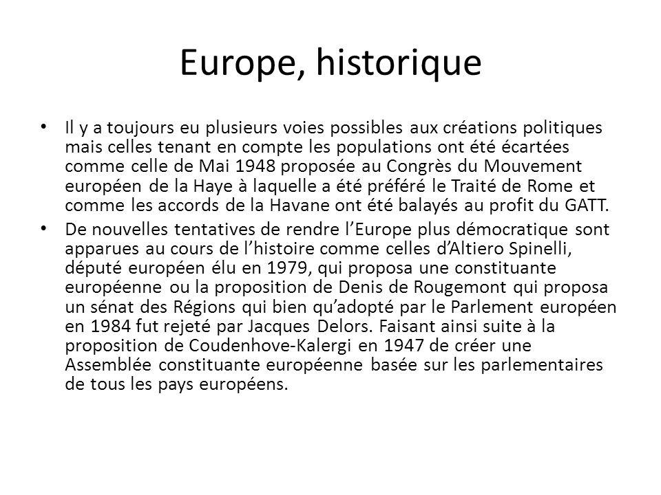 Europe, historique Il y a toujours eu plusieurs voies possibles aux créations politiques mais celles tenant en compte les populations ont été écartées