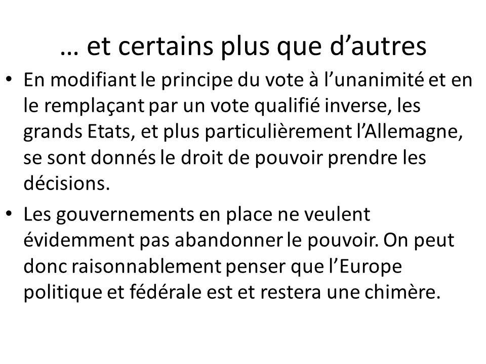 … et certains plus que d'autres En modifiant le principe du vote à l'unanimité et en le remplaçant par un vote qualifié inverse, les grands Etats, et