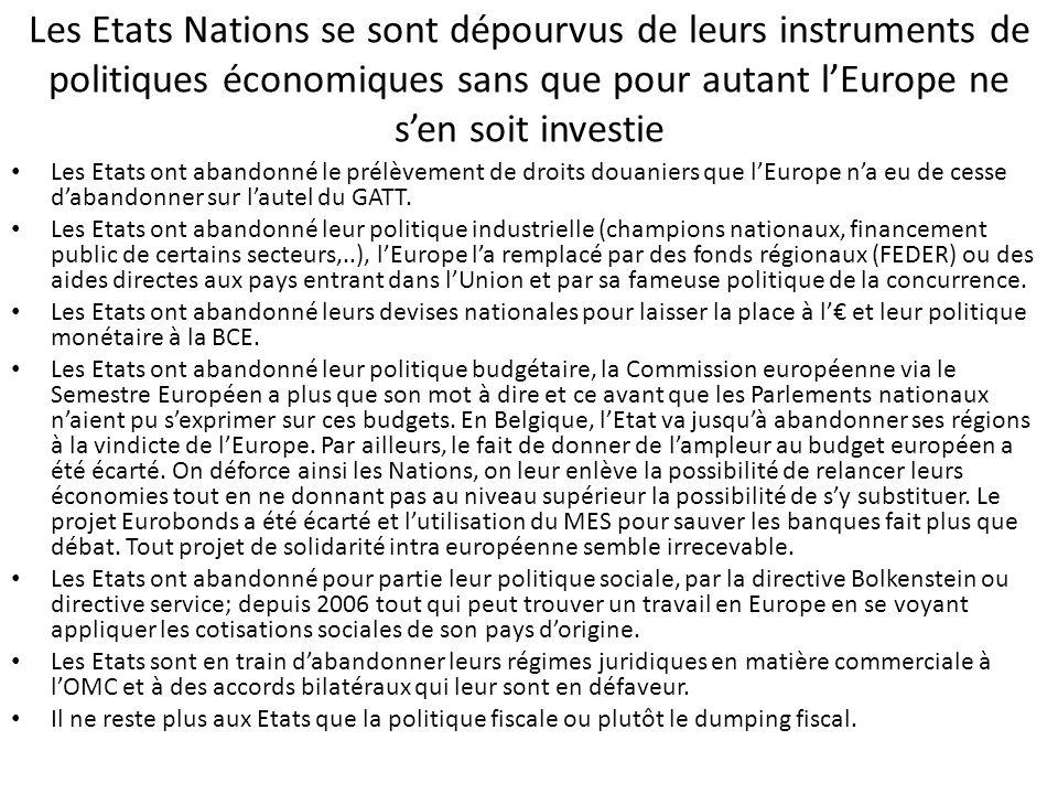 Les Etats Nations se sont dépourvus de leurs instruments de politiques économiques sans que pour autant l'Europe ne s'en soit investie Les Etats ont a