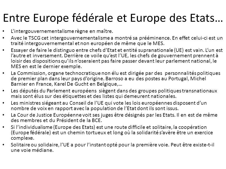 Entre Europe fédérale et Europe des Etats… L'intergouvernementalisme règne en maître. Avec le TSCG cet intergouvernementalisme a montré sa prééminence