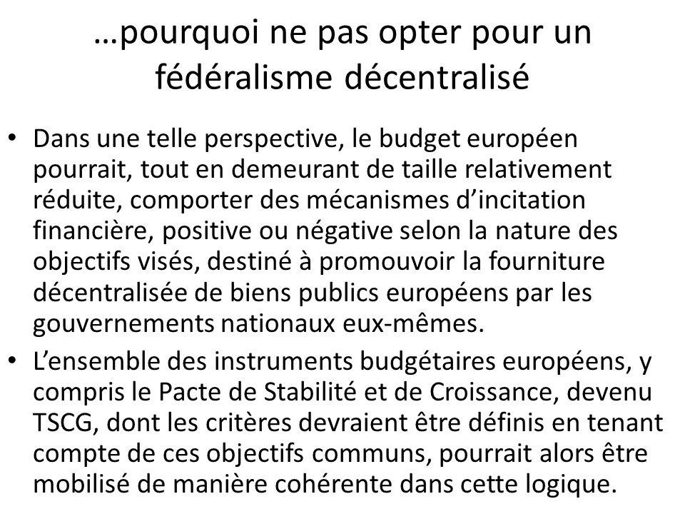 …pourquoi ne pas opter pour un fédéralisme décentralisé Dans une telle perspective, le budget européen pourrait, tout en demeurant de taille relativem
