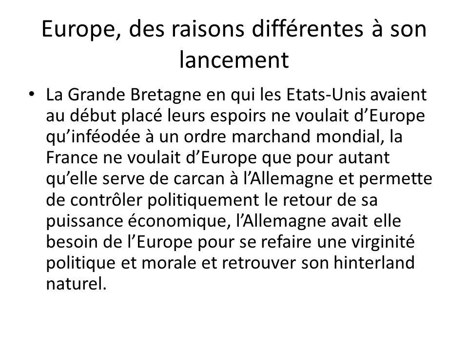 Europe, des raisons différentes à son lancement La Grande Bretagne en qui les Etats-Unis avaient au début placé leurs espoirs ne voulait d'Europe qu'i