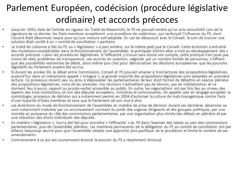 Parlement Européen, codécision (procédure législative ordinaire) et accords précoces Jusqu'en 1992, date de l'entrée en vigueur du Traité de Maastrich
