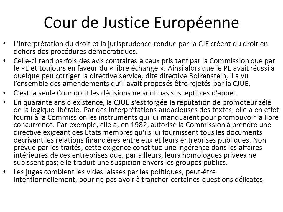 Cour de Justice Européenne L'interprétation du droit et la jurisprudence rendue par la CJE créent du droit en dehors des procédures démocratiques. Cel
