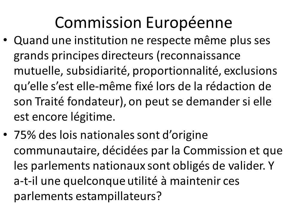 Commission Européenne Quand une institution ne respecte même plus ses grands principes directeurs (reconnaissance mutuelle, subsidiarité, proportionna