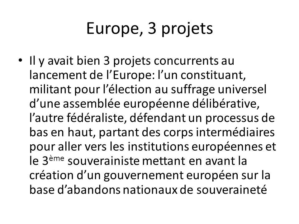 Europe, 3 projets Il y avait bien 3 projets concurrents au lancement de l'Europe: l'un constituant, militant pour l'élection au suffrage universel d'u
