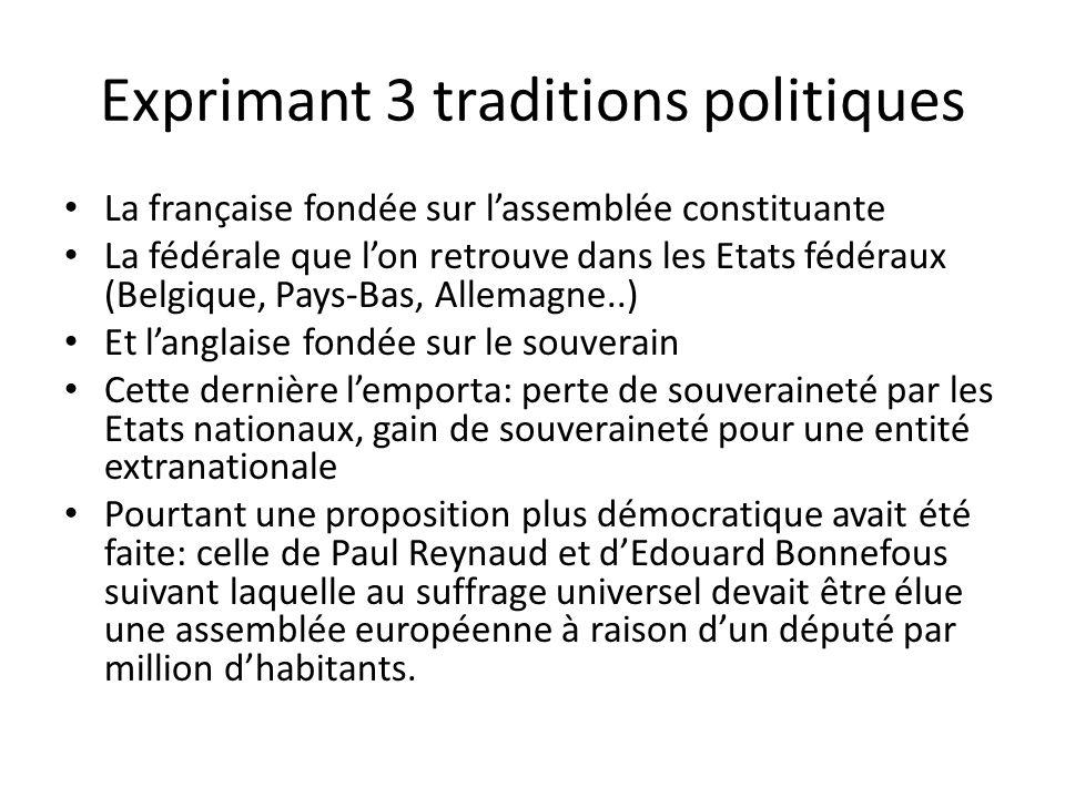 Exprimant 3 traditions politiques La française fondée sur l'assemblée constituante La fédérale que l'on retrouve dans les Etats fédéraux (Belgique, Pa