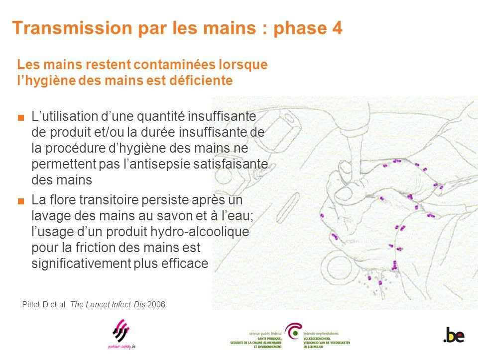 Transmission par les mains : phase 4 Les mains restent contaminées lorsque l'hygiène des mains est déficiente ■L'utilisation d'une quantité insuffisan