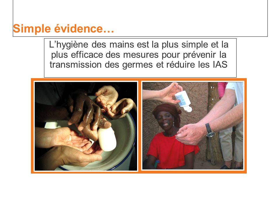 Simple évidence… L'hygiène des mains est la plus simple et la plus efficace des mesures pour prévenir la transmission des germes et réduire les IAS