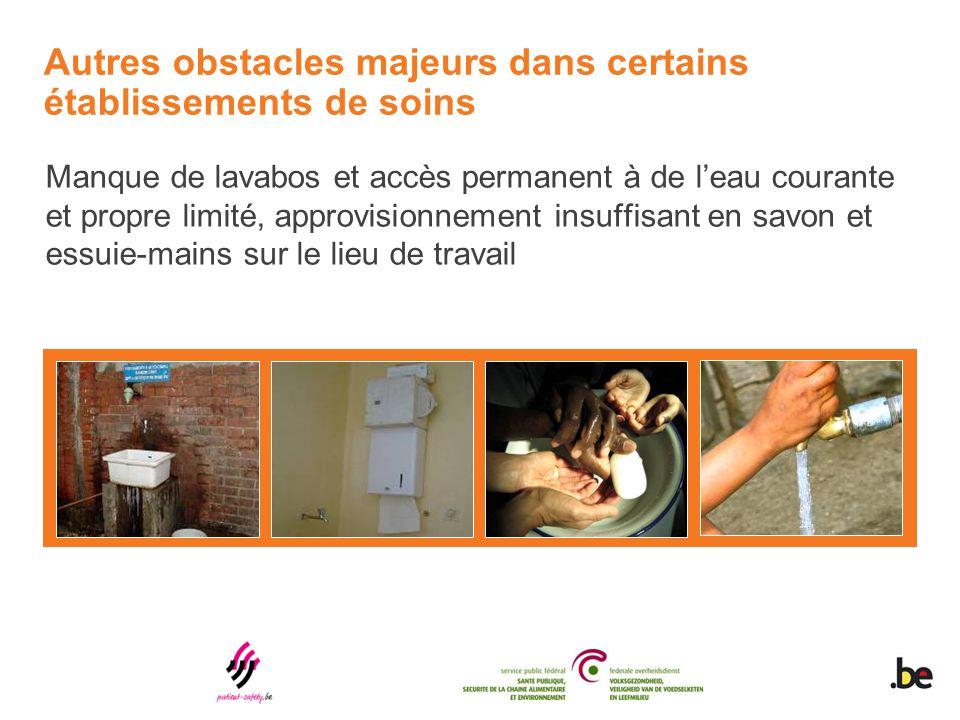 Autres obstacles majeurs dans certains établissements de soins Manque de lavabos et accès permanent à de l'eau courante et propre limité, approvisionn