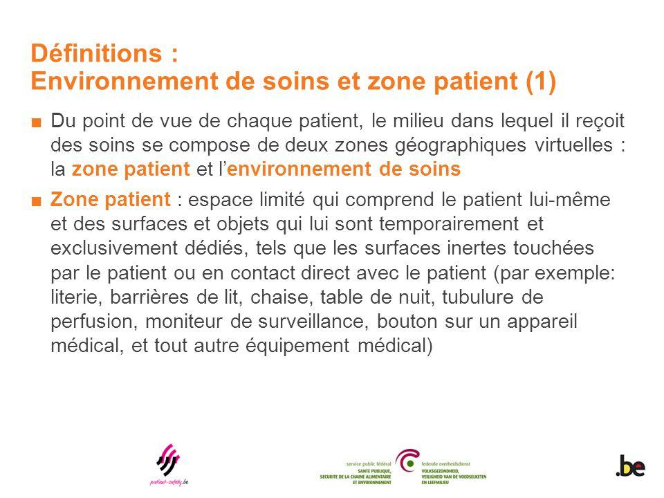 Définitions : Environnement de soins et zone patient (1) ■Du point de vue de chaque patient, le milieu dans lequel il reçoit des soins se compose de d
