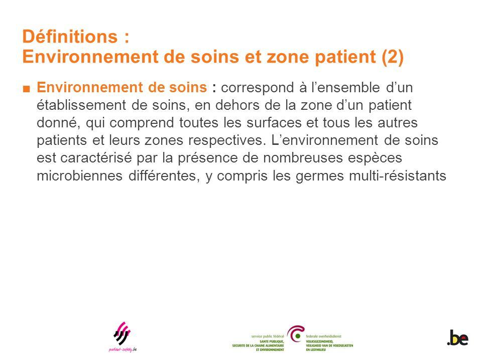 Définitions : Environnement de soins et zone patient (2) ■Environnement de soins : correspond à l'ensemble d'un établissement de soins, en dehors de l