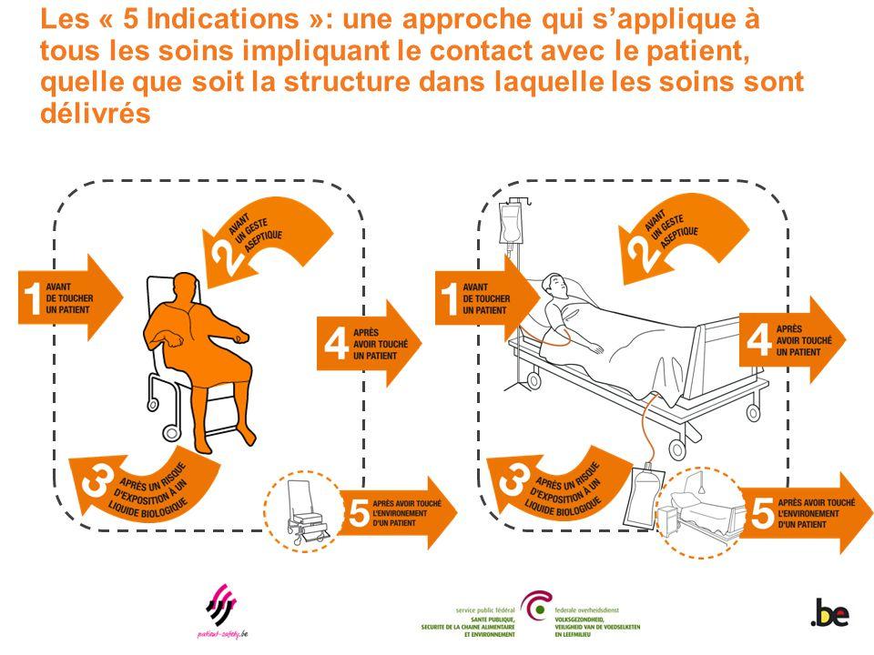 Les « 5 Indications »: une approche qui s'applique à tous les soins impliquant le contact avec le patient, quelle que soit la structure dans laquelle
