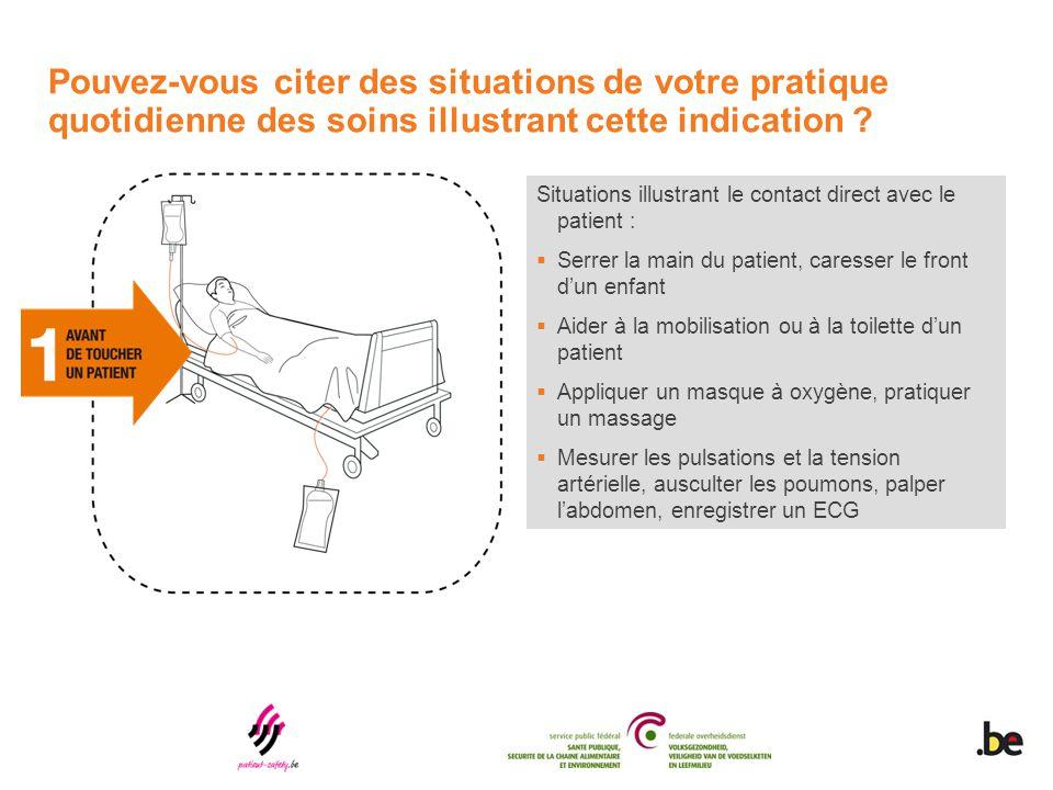 Situations illustrant le contact direct avec le patient :  Serrer la main du patient, caresser le front d'un enfant  Aider à la mobilisation ou à la