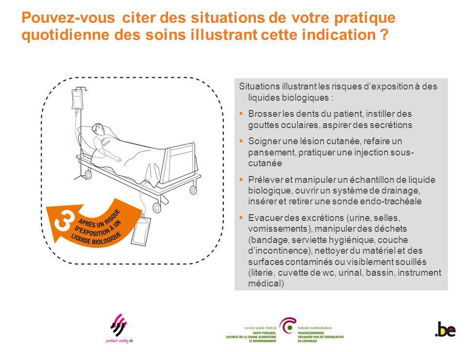 Situations illustrant les risques d'exposition à des liquides biologiques :  Brosser les dents du patient, instiller des gouttes oculaires, aspirer d