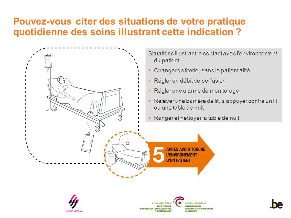Situations illustrant le contact avec l'environnement du patient :  Changer de literie, sans le patient alité  Régler un débit de perfusion  Régler