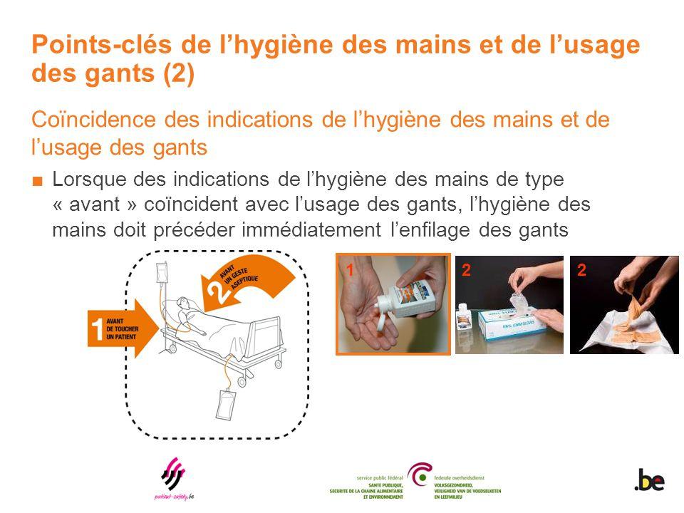 Points-clés de l'hygiène des mains et de l'usage des gants (2) Coïncidence des indications de l'hygiène des mains et de l'usage des gants ■Lorsque des