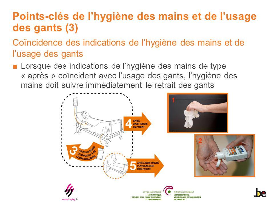 Points-clés de l'hygiène des mains et de l'usage des gants (3) Coïncidence des indications de l'hygiène des mains et de l'usage des gants ■Lorsque des