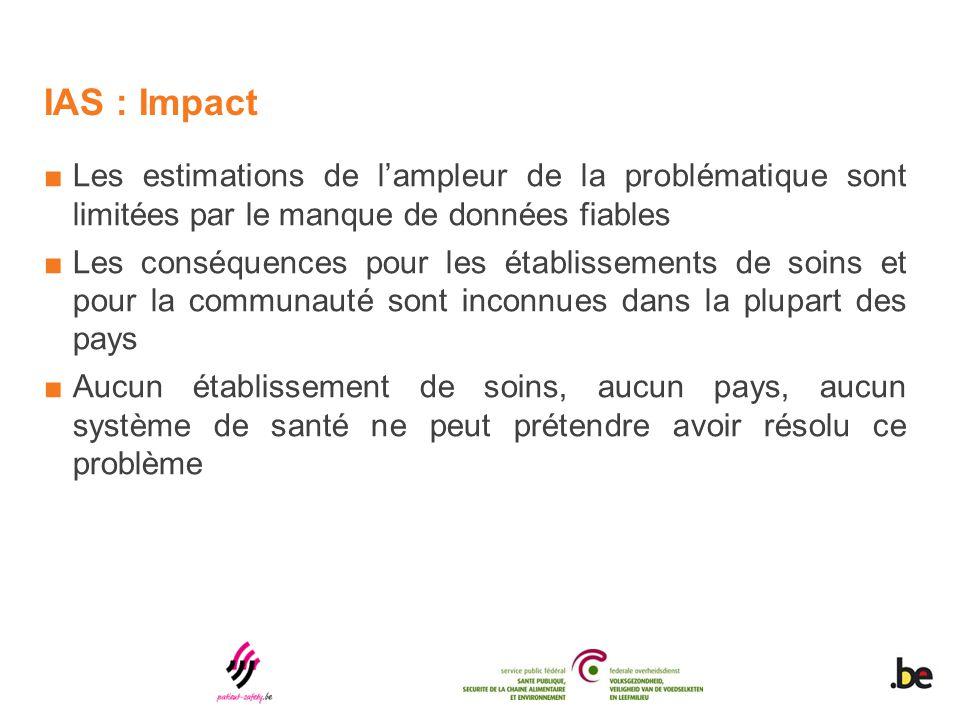 IAS : Impact ■Les estimations de l'ampleur de la problématique sont limitées par le manque de données fiables ■Les conséquences pour les établissement