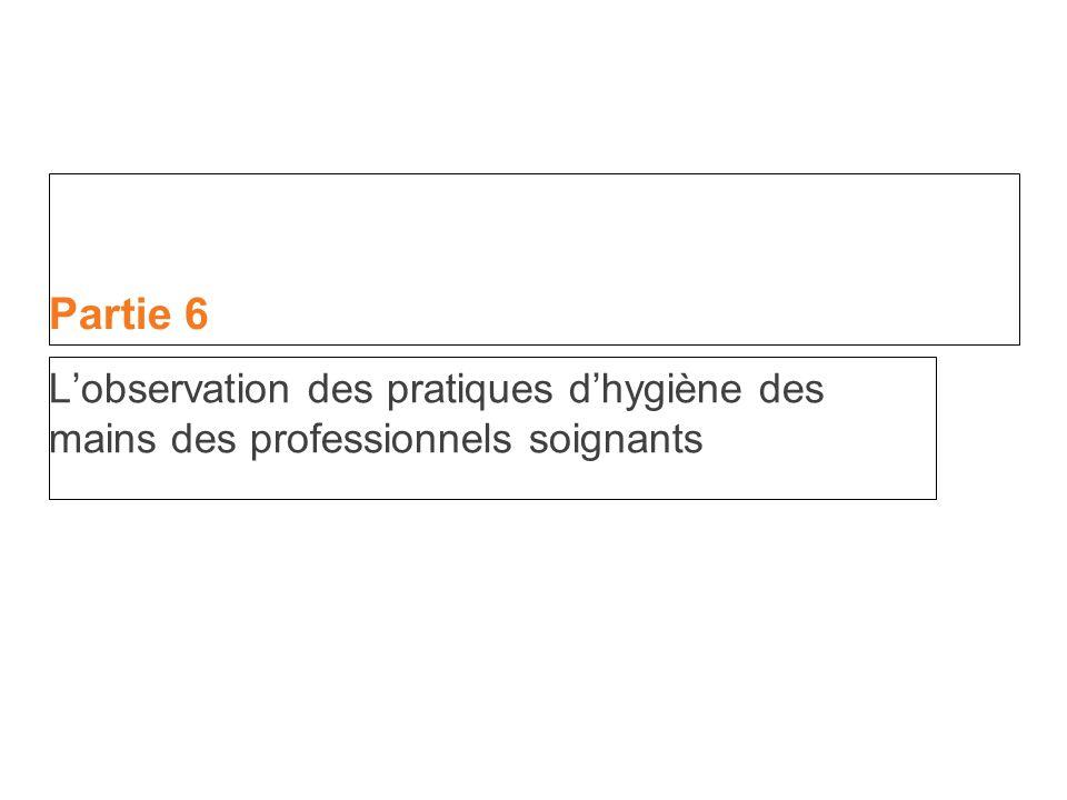 Partie 6 L'observation des pratiques d'hygiène des mains des professionnels soignants