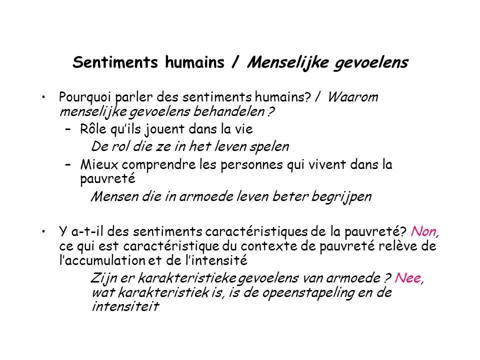 Sentiments humains / Menselijke gevoelens Pourquoi parler des sentiments humains.