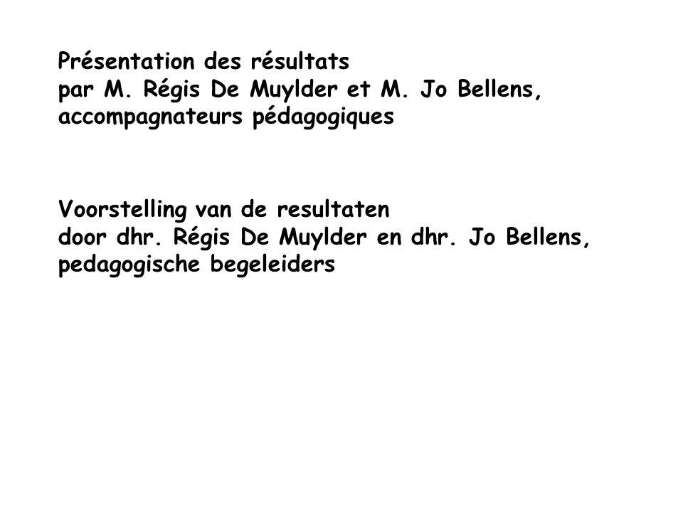 Présentation des résultats par M. Régis De Muylder et M.