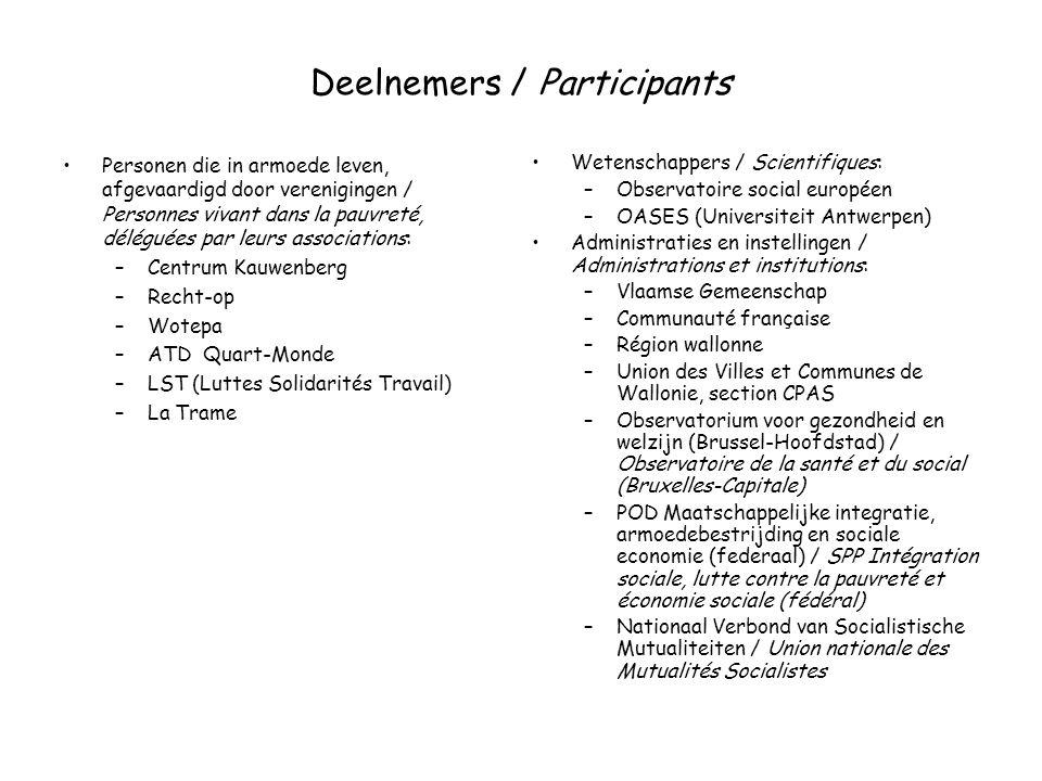 Deelnemers / Participants Personen die in armoede leven, afgevaardigd door verenigingen / Personnes vivant dans la pauvreté, déléguées par leurs associations: –Centrum Kauwenberg –Recht-op –Wotepa –ATD Quart-Monde –LST (Luttes Solidarités Travail) –La Trame Wetenschappers / Scientifiques: –Observatoire social européen –OASES (Universiteit Antwerpen) Administraties en instellingen / Administrations et institutions: –Vlaamse Gemeenschap –Communauté française –Région wallonne –Union des Villes et Communes de Wallonie, section CPAS –Observatorium voor gezondheid en welzijn (Brussel-Hoofdstad) / Observatoire de la santé et du social (Bruxelles-Capitale) –POD Maatschappelijke integratie, armoedebestrijding en sociale economie (federaal) / SPP Intégration sociale, lutte contre la pauvreté et économie sociale (fédéral) –Nationaal Verbond van Socialistische Mutualiteiten / Union nationale des Mutualités Socialistes