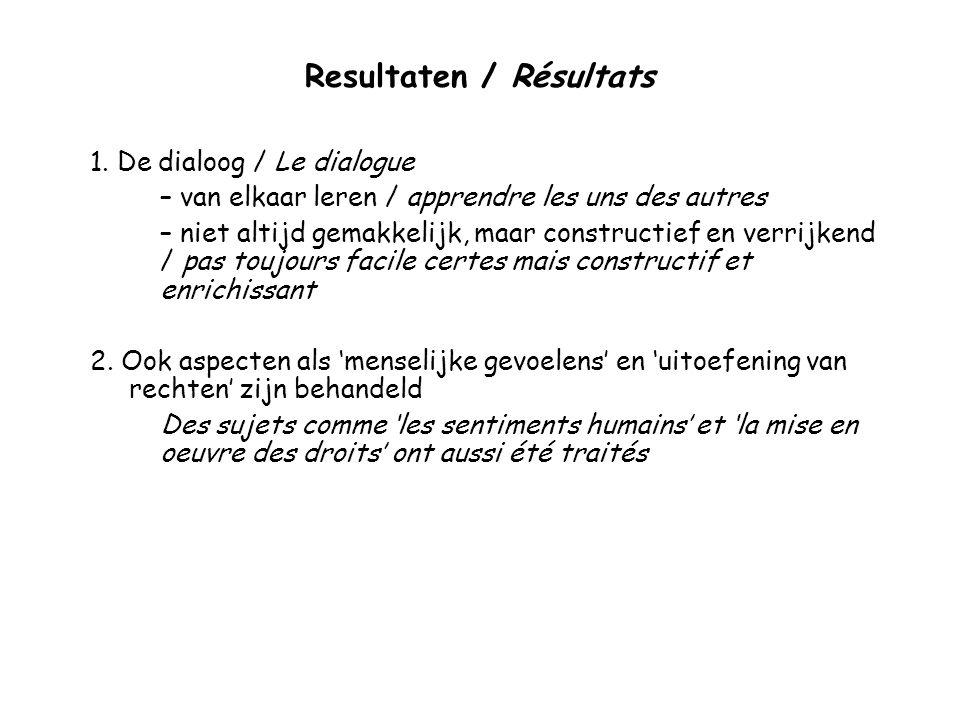 Resultaten / Résultats 1.