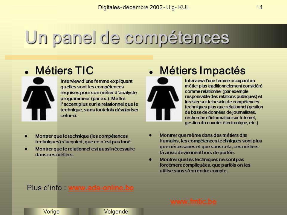 VolgendeVorige Digitales- décembre 2002 - Ulg- KUL14 Un panel de compétences Métiers TIC Interview d'une femme expliquant quelles sont les compétences requises pour son métier d'analyste programmeur (par ex.).