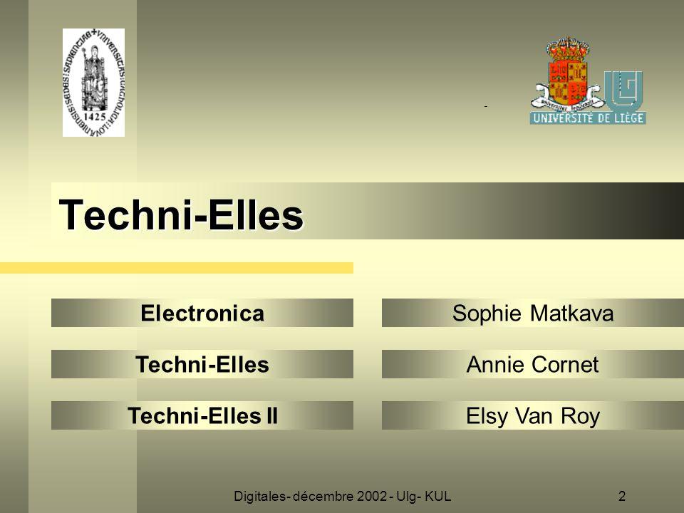 2 Techni-Elles Electronica Techni-Elles Techni-Elles II Sophie Matkava Annie Cornet Elsy Van Roy